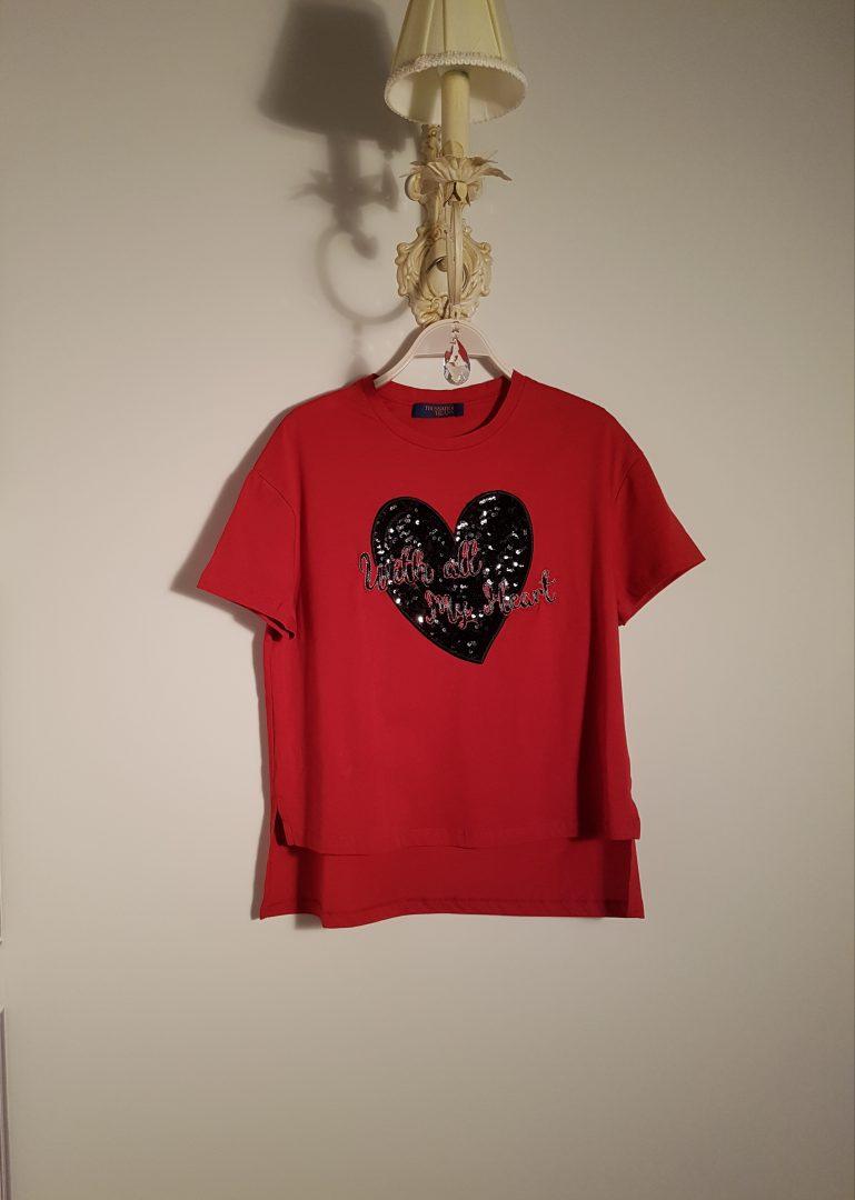 1c06103b5195 T-shirt κόκκινο με παγιέτα - Boudoir de Peli