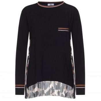 SWEATER WITH PLEATED ANIMAL PRINT PANEL