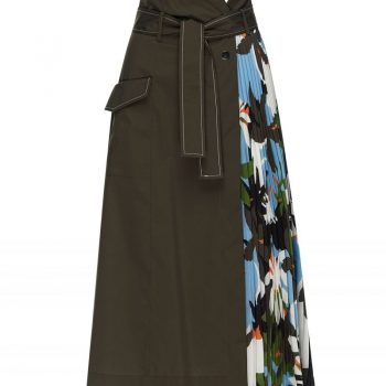 GREEN MIDI SKIRT WITH PLEATED PRINTED PANEL