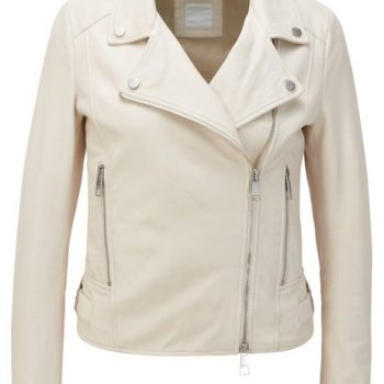 Nappa-leather biker jacket with oversized lapels