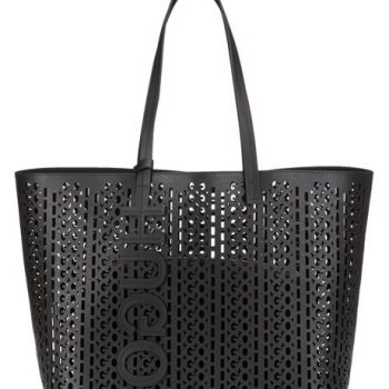 Italian-leather shopper bag with laser-cut logo pattern