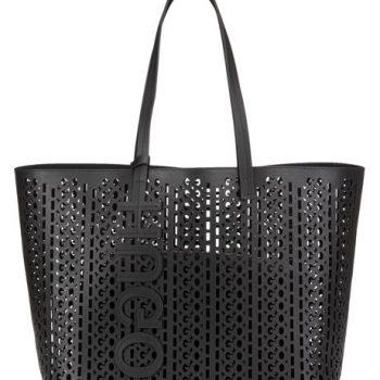 Italian-leather shopper bag with laser-cut logo pattern
