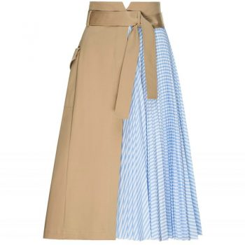 MIDI BEIGE SKIRT WITH STRIPED PLEATED PANEL