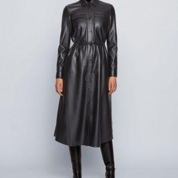 Μακρυμάνικο φόρεμα από faux δέρμα