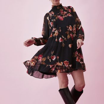 Floral-print κρεπ φόρεμα