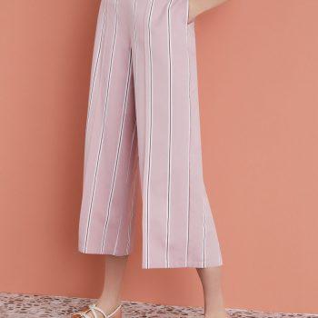 Παντελόνα ριγέ ροζ